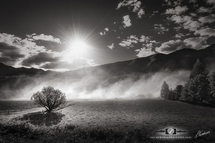 Black and white photo of the sun setting behind hills with a tree and smoke in the foreground.