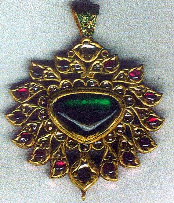 antique Kundan meena gold polki diamond rubies set by TRIBALEXPORT, $4250.00