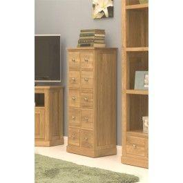 Mobel Oak Solid Oak Multi-Drawer / CD Storage Chest