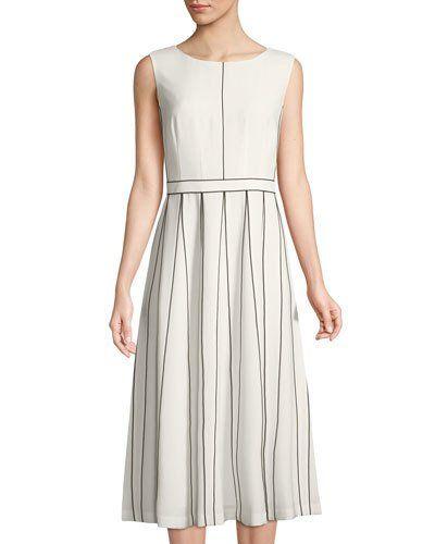 Mariposa Finesse Crepe A-Line Midi Dress, Ivory