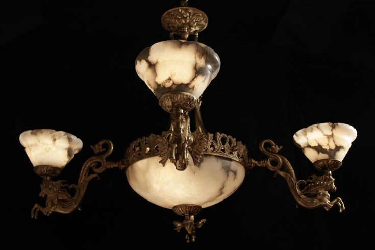 Pendant chandelier bronze and alabaster with winged horse sculptures by europeanlighting on Etsy