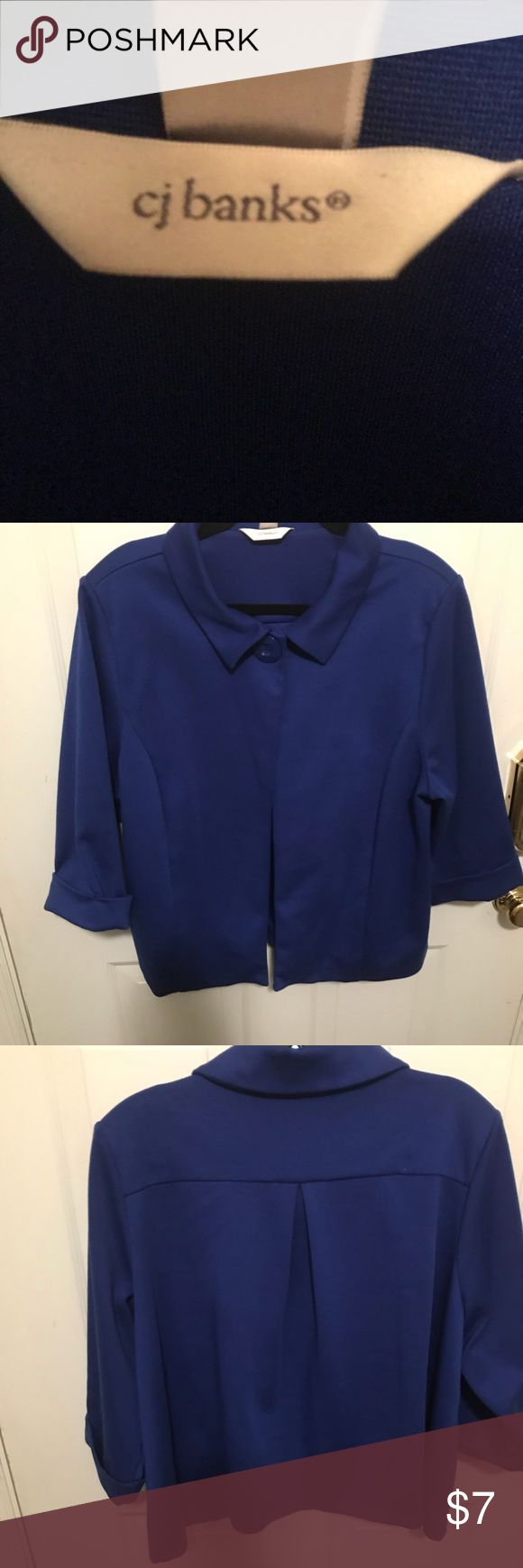 CJ Banks 3/4 Sleeve Cropped Royal Blue Blazer CJ Banks 3/4 Sleeve Cropped Royal Blue Blazer- Jackie O stylish blazer with big front button and open pleat on the back- size 1X, fits 22-26 CJ Banks Jackets & Coats Blazers