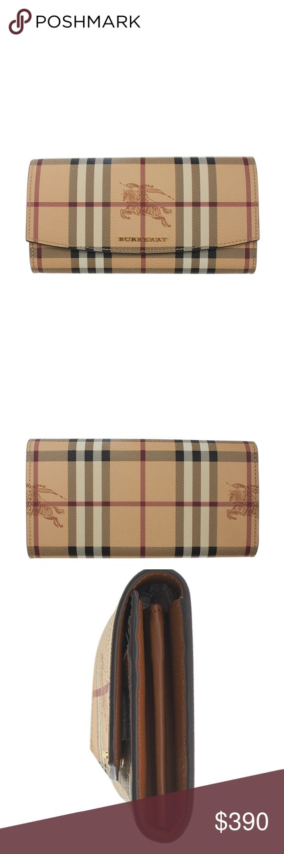 Burberry Beige Haymarket Check Wallet 138183 •Designer: Burberry •Overall Condition: New without tags •Type: Snap •Material: Canvas •Origin: Romania •Color: Beige •Interior Lining: Canvas, Leather •Interior Color: Brown •Hardware: Gold-Tone •Meas (L x W x H): 8x1x4 •Exterior Pockets: 0 •Interior Pockets: 2 •Odor: None •Weight: 0.675 lbs •Size: M •Production Code: ROPELF1071SEE •Card Slots: 14 •Overall Condition Description: This Burberry wallet is new without tags.  •Ref: 138503-138183-PMS-S…