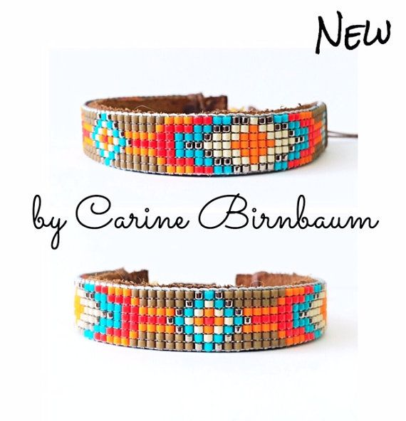 Loom beaded bracelet Beaded bracelet Leather by CarineBirnbaum
