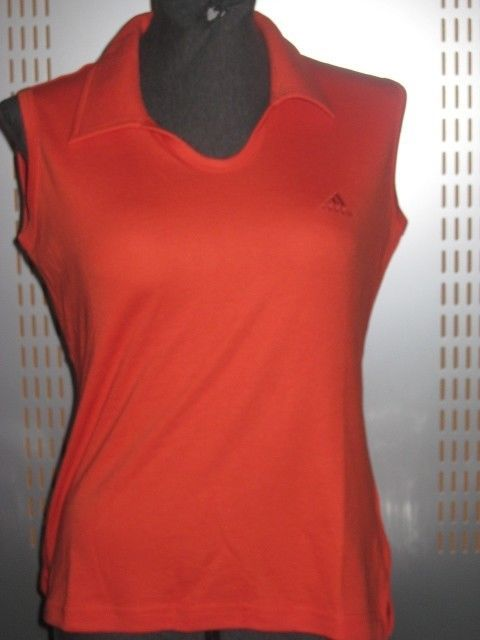 Adidas W Il S/L Polo Shirt Women Sleeveless T-Shirt Orange Blouse 360602