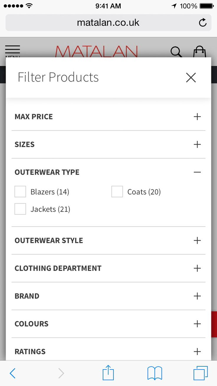 Matalan's filtering, by Mobify