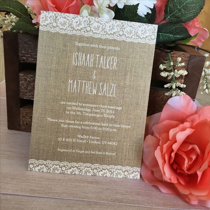 how to address couples on wedding invitations%0A Burlap and lace wedding invitation by Beautiful Wedding Announcements