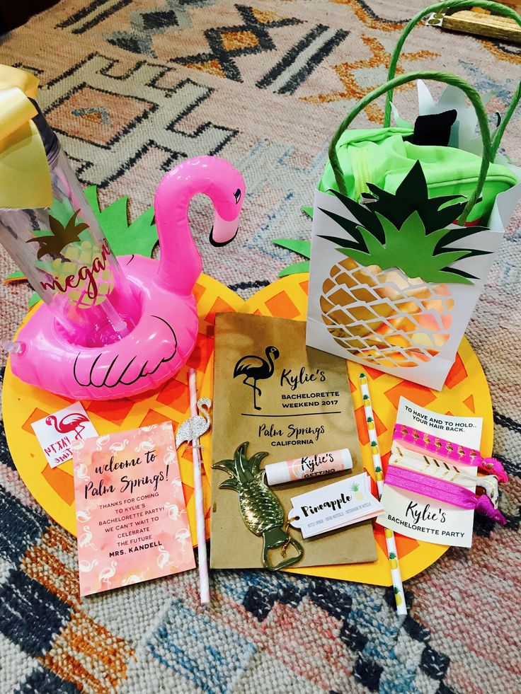funny bachelorette party sayings for invitations%0A Palm Springs Flamingle Bachelorette Party Gift bags
