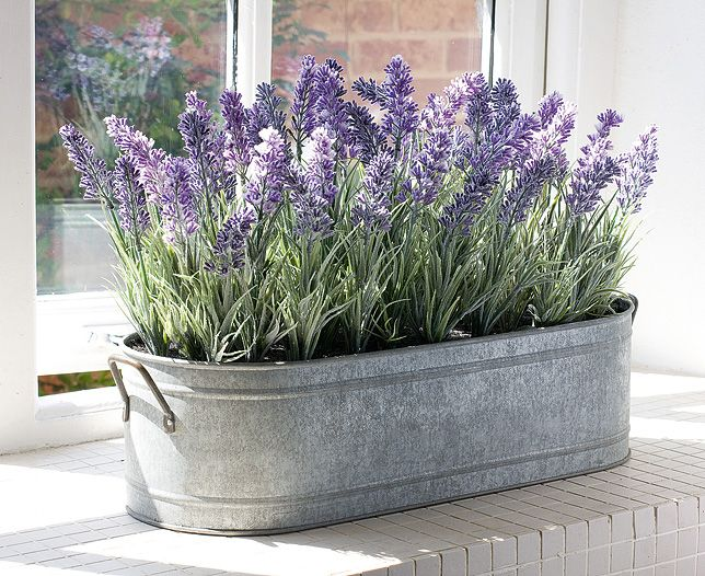 English Lavender Zinc Windowbox Planter