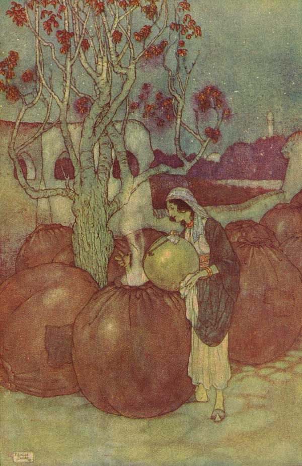 Edmund Dulac. Ali Baba and the Forty Thieves. This is the scene where Ali Baba's cunning slave-girl pours boiling oil into the hiding places of the murderous thieves. A bit different to the Warner Brothers version...