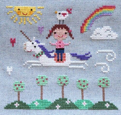 Spring unicorn cross stitch.