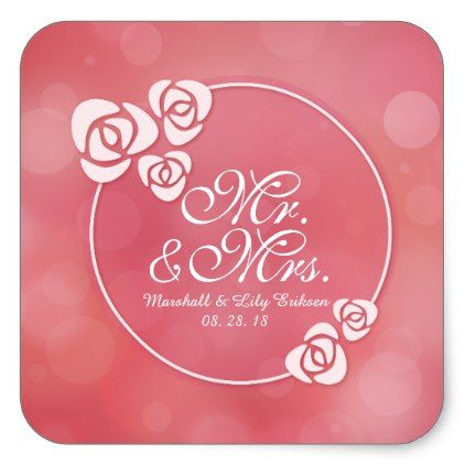 Mr. & Mrs. Elegant Floral Frame Wedding Sticker - wedding stickers unique design cool sticker gift idea marriage party