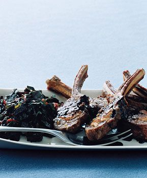 Rosemary Lamb Chops with Swiss Chard and Balsamic Syrup