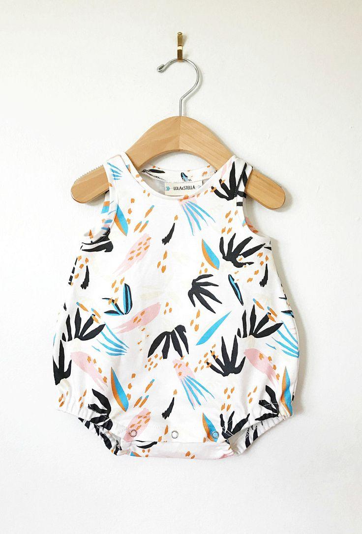 Handmade Organic Cotton Baby Romper | LolaandStella on Etsy