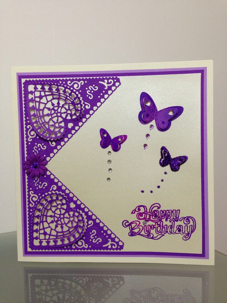 Birthday card using Chantilly heart tattered lace die