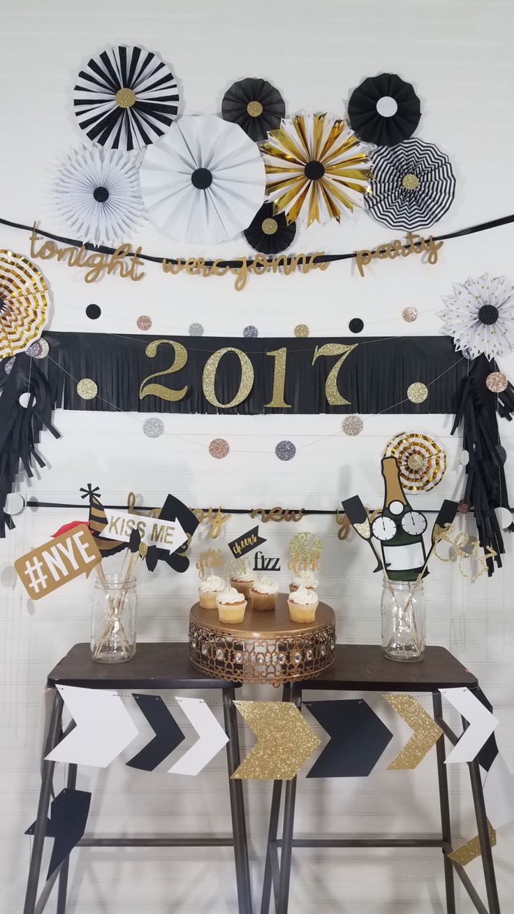 Complete New Years Eve Party Decor Package - Rosettes - Photobooth Props - Banners - Cupcake Toppers - Garlands, Black + White, Great Gatsby by eventprint on Etsy