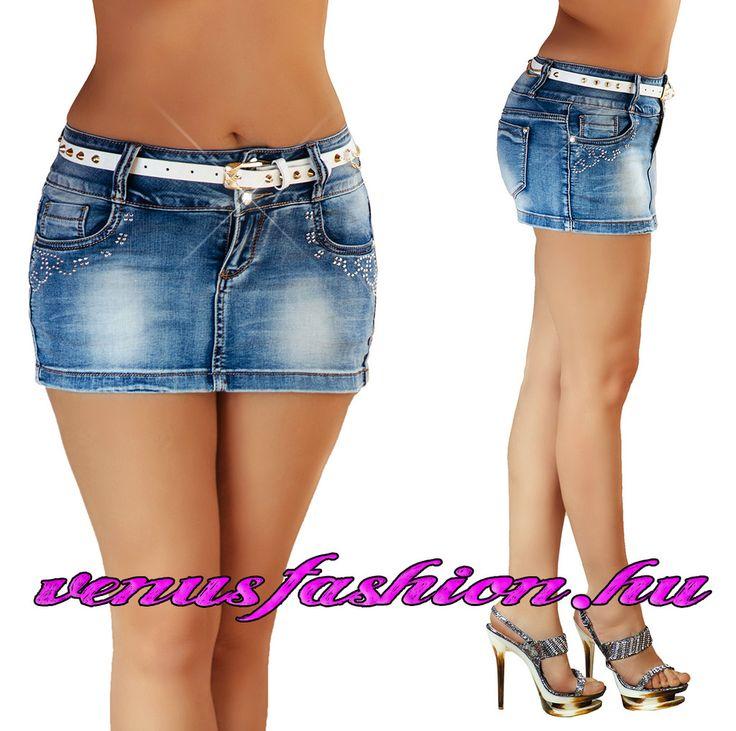 Szuper szexi farmer mini szoknya övvel XS S M L XL - Venus fashion női ruha webáruház