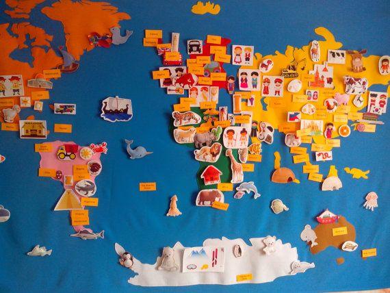 Filz-Karte, 150 Elemente Montessori Kontinente, Tiere, fühlte mich fühlte Spielzeug, beschäftigt Vorstand, sensorische Board, Weltkarte, mundo Reisen anzeigen, fühlte von BusyBoardOlga