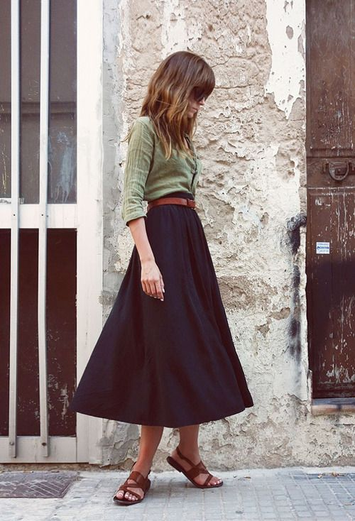 khaki shirt + black midi skirt + sandals