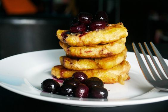 These AIP Vanilla Pancakes are an egg-free, nut-free plantain pancake recipe suitable for those on the autoimmune protocol, served with a blueberry sauce.