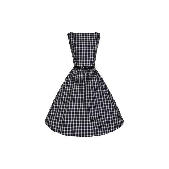 Lindy Bop Audrey Black Window Retro šaty ve stylu 50. let. Velmi příjemné a decentní šaty vhodné do zaměstnání či běžné nošení díky svému příjemnému materiálu podobnému flanelu (100% bavlna) a klasické černo bílé barevné kombinaci velmi pohodové. Zapínání vzadu na zip, lakovaný černý pásek součástí. Pro bohatší vzhled sukně doporučujeme doplnit spodničkou, buď v černé nebo bílé barvě.