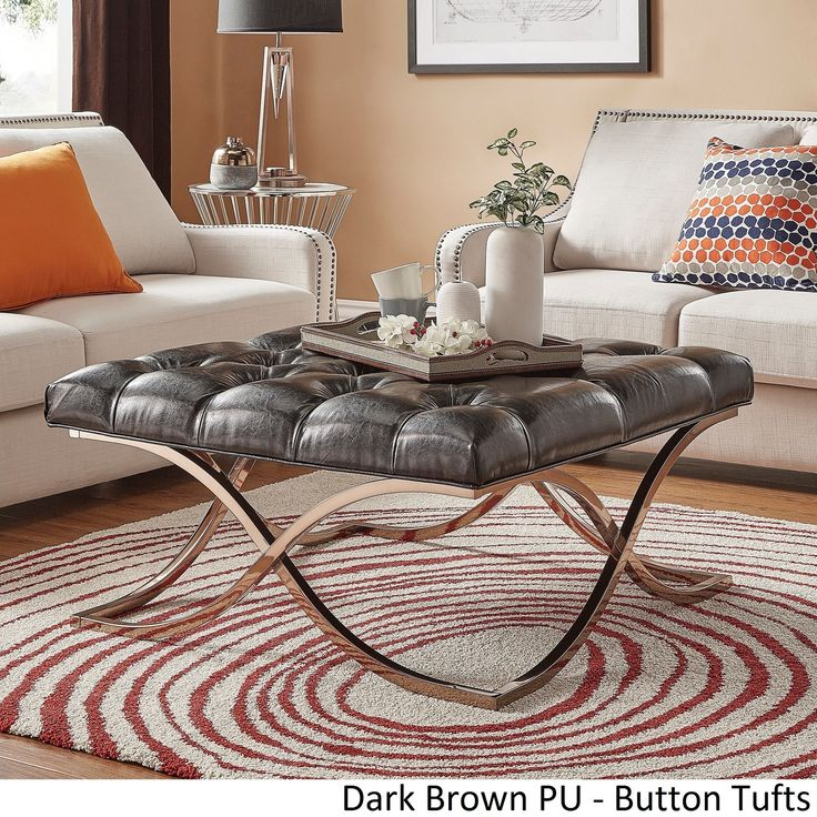 foot rests for living room%0A Solene X Base Square Ottoman Coffee Table  Champagne Gold by iNSPIRE Q  Bold