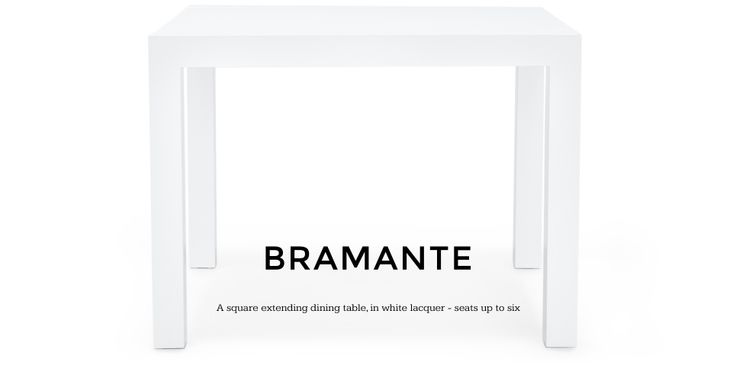 Bramante Extendable Square Dining Table in white | made.com