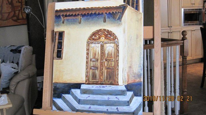 Tunisian Doorsteps.  Acrylic on canvas .