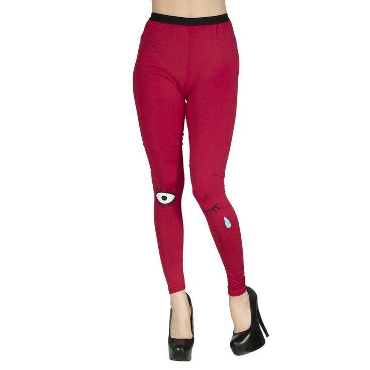 Simplicity Women's Hi Waist Pop Art Fashion Leggings - Teary Eyed