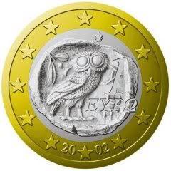 EU & Greek coin - Bohemian Grove/#illuminati Owl depiction on it. Totally pagan symbolism/satan worshipper elite