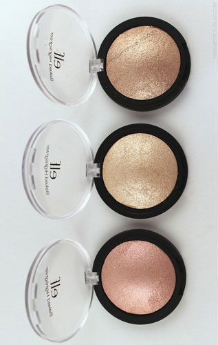 ELF Cosmetics Studio Baked Highlighter ~:~ These are super awesome, for those that don't think so, first scrape the top surface layer off with a knife or whatnot. Then use it and you will be SHOCKED.!!! They are amazing.!!!!