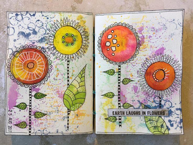 "288 gilla-markeringar, 9 kommentarer - Melina Dahl  (@minaskreativa) på Instagram: ""Spread in my art journal. Background stamps and stencils from @thatscraftyuk #artjournal…"""