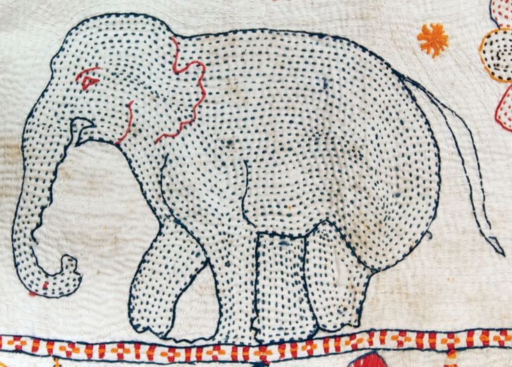 mythical beasts: elephant Kantha quilt detail