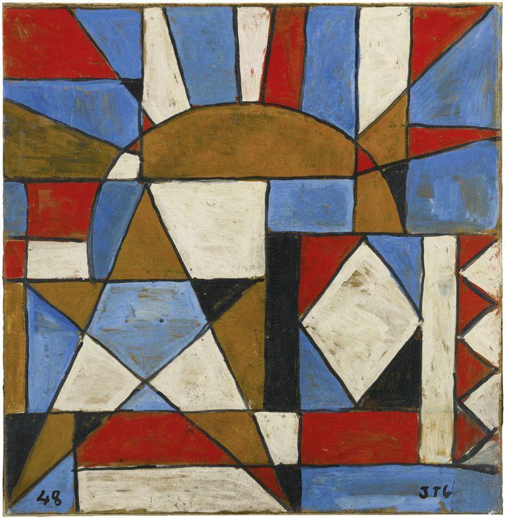 Joaquín Torres-García (Uruguayan, 1874-1949), Arte constructivo con sol y estrella, 1948. Oil on board, 90 x 89 cm.
