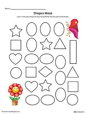 Oval Shape Maze Printable Worksheet (Color) Shapes