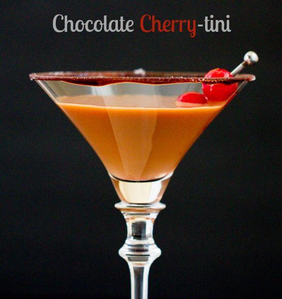 Chocolate Covered Cherry-tini (2 oz. cherry vodka 1 oz. cream de cacao 1/2 oz. cream or half & half splash of maraschino juice  squirt of chocolate syrup)