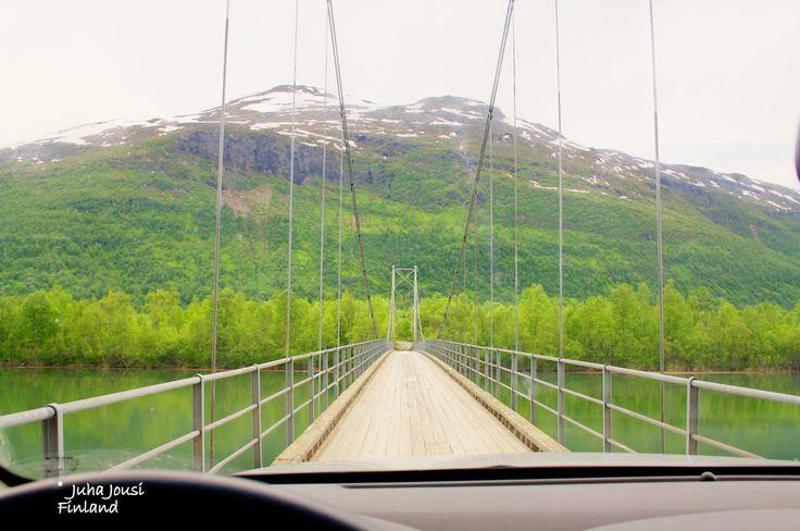 Artic danger suspension bridge and #Nissan #Pathfinder #Norway by #Juha #Jousi