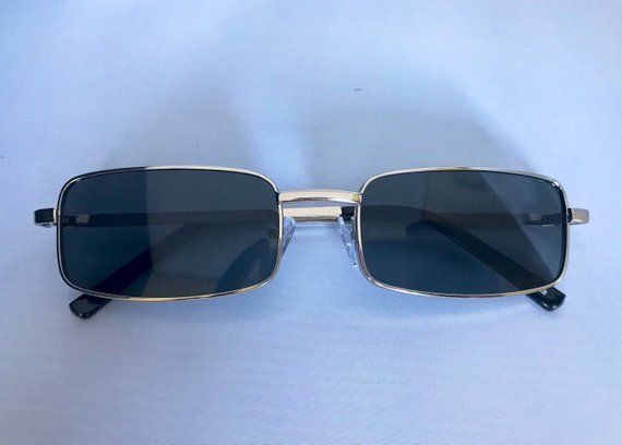 Square Rectangle Vintage Sunglasses With A Full Metal Polished Frame These Sunglasses Are Wide And Flat Vintage Sunglasses Retro Sunglasses Vintage Sunglasses