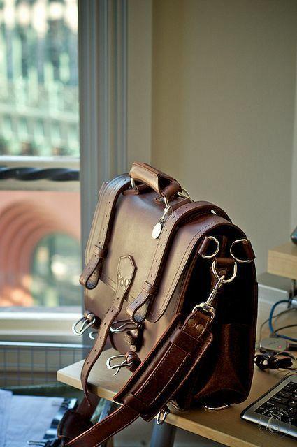 Men's Large Handmade Vintage Leather Briefcase / Leather Satchel / Leather…
