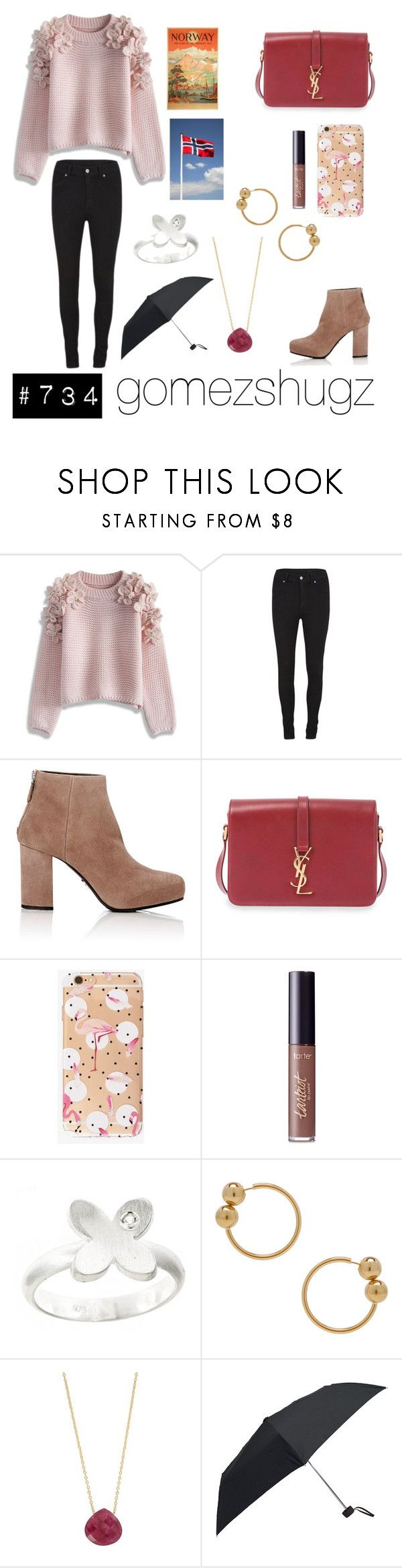 """""""black, rose, pink, nude, silver"""" by gomezshugz ❤ liked on Polyvore featuring Chicwish, Cheap Monday, Prada, Yves Saint Laurent, tarte, Pineapple Seed, J.W. Anderson, Juvi and Eagle Creek"""