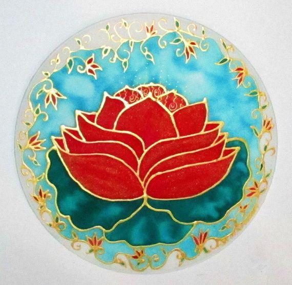 Red Lotus Mandala mandala art lotus art yoga by HeavenOnEarthSilks, $32.00