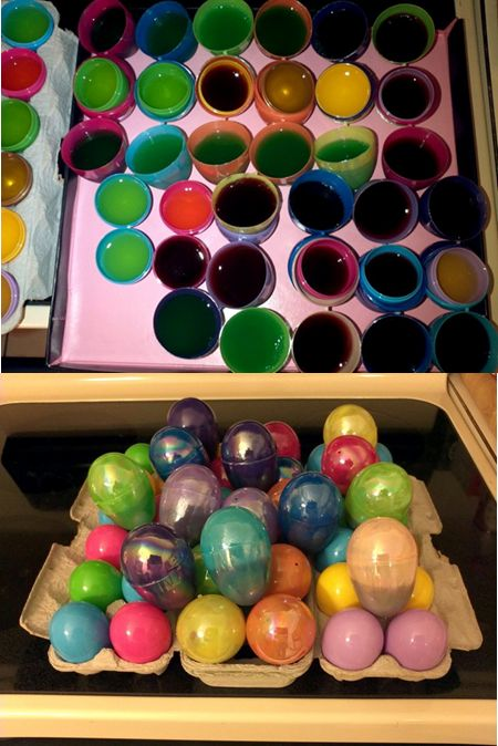 Easter Egg Hunting for Adults!  Made these for an Easter Party.  Best idea ever!  Make a few different jello shot recipes, pour them into clean plastic eggs, let them setup in the fridge, and close.  I put them in a big Easter basket and so that your guests dont know which flavor jello shot they would find!  Happy Hunting!