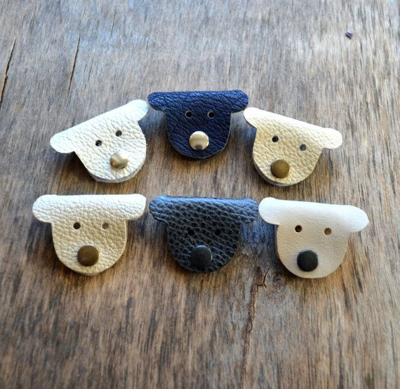 Cord holder Travel Gift funny animal head bear cord organizer earbud holder leather cable holder cable cord keeper