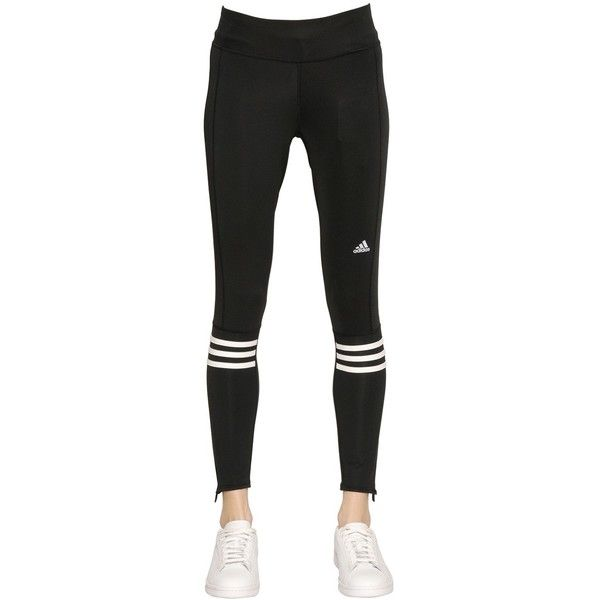 ADIDAS PERFORMANCE Running Double Knit Leggings ($62) ❤ liked on Polyvore featuring pants, leggings, zipper leggings, adidas leggings, stripe leggings, black pants and striped leggings