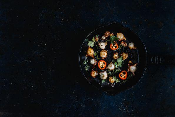 grilled garlic octopus / pulpo al ajillo // sofia plana food photography