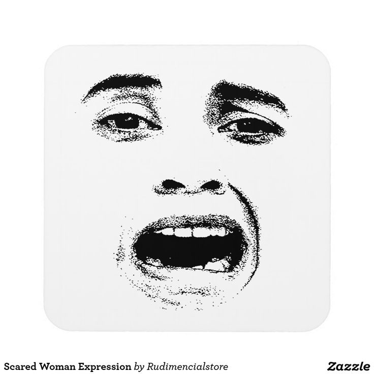 Scared Woman Expression Drink Coaster Drink Coasters Coasters Black Coasters