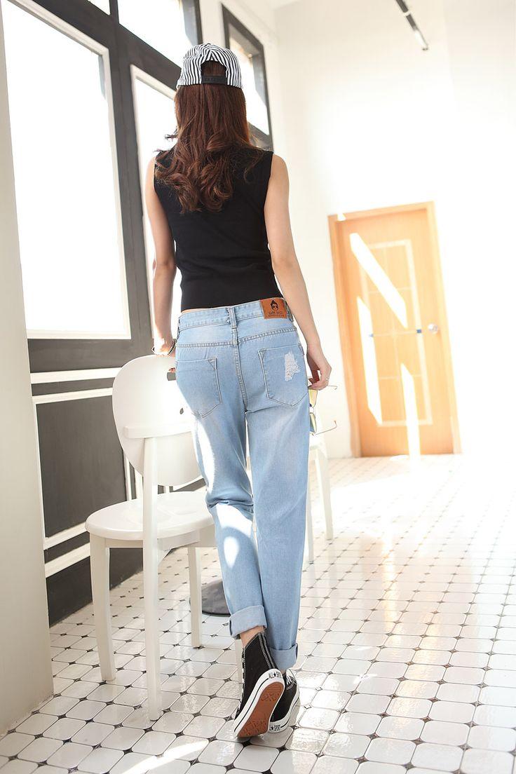 Primavera / verano pantalones vaqueros rasgados mujer agujeros pantalones de mezclilla bordados jeans ocio pantalones pantalones para mujeres sueltan los pantalones vaqueros azul para mujer pantalones en Pantalones vaqueros de Ropa y Accesorios de las mujeres en AliExpress.com | Alibaba Group