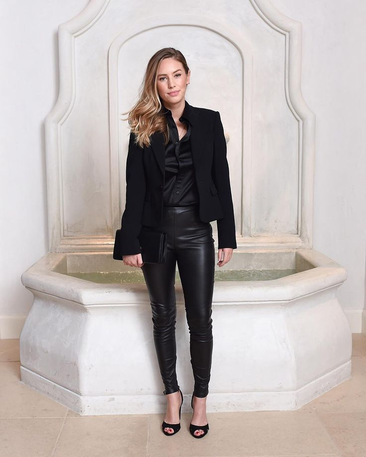 @IamDylanPenn wears a black tuxedo, silk blouse and leather leggings at Ralph Lauren's Beverly Hills flagship celebration. #RLIconicStyle