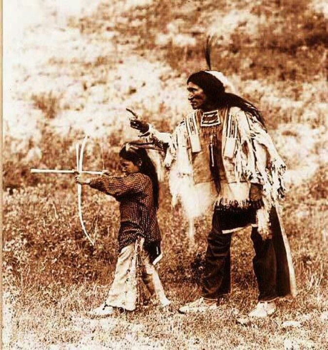 A Native American Map%0A Native American father teaching his son to use a bow and arrow