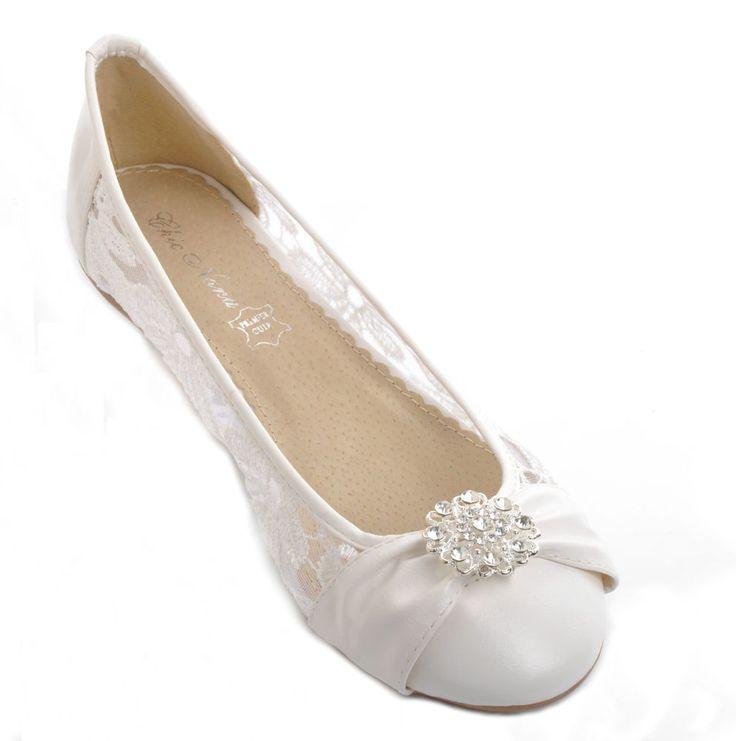 Off White Lace Diamante Wedding Ballerina Bridal Flat Pumps